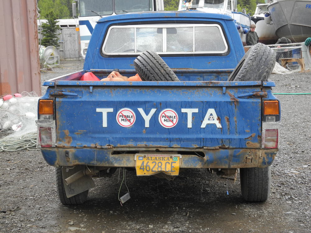 Many vehicles in Dillingham, AK reflect locals' opinions of the proposed Pebble Mine.