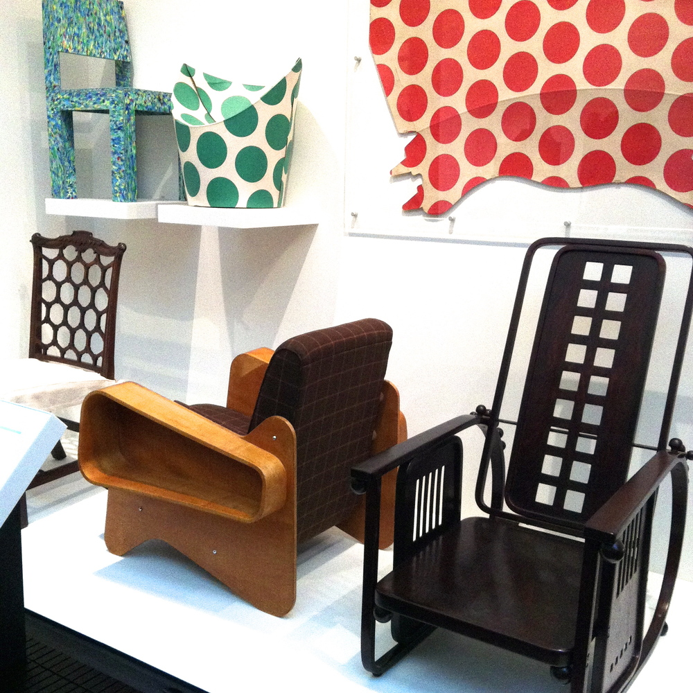 Plywood armchairs by Marcel Breuer (1936, left) and Josef Hoffmann (1908, right), with the spotted 'Child Chair' made from flat-packed cardboard
