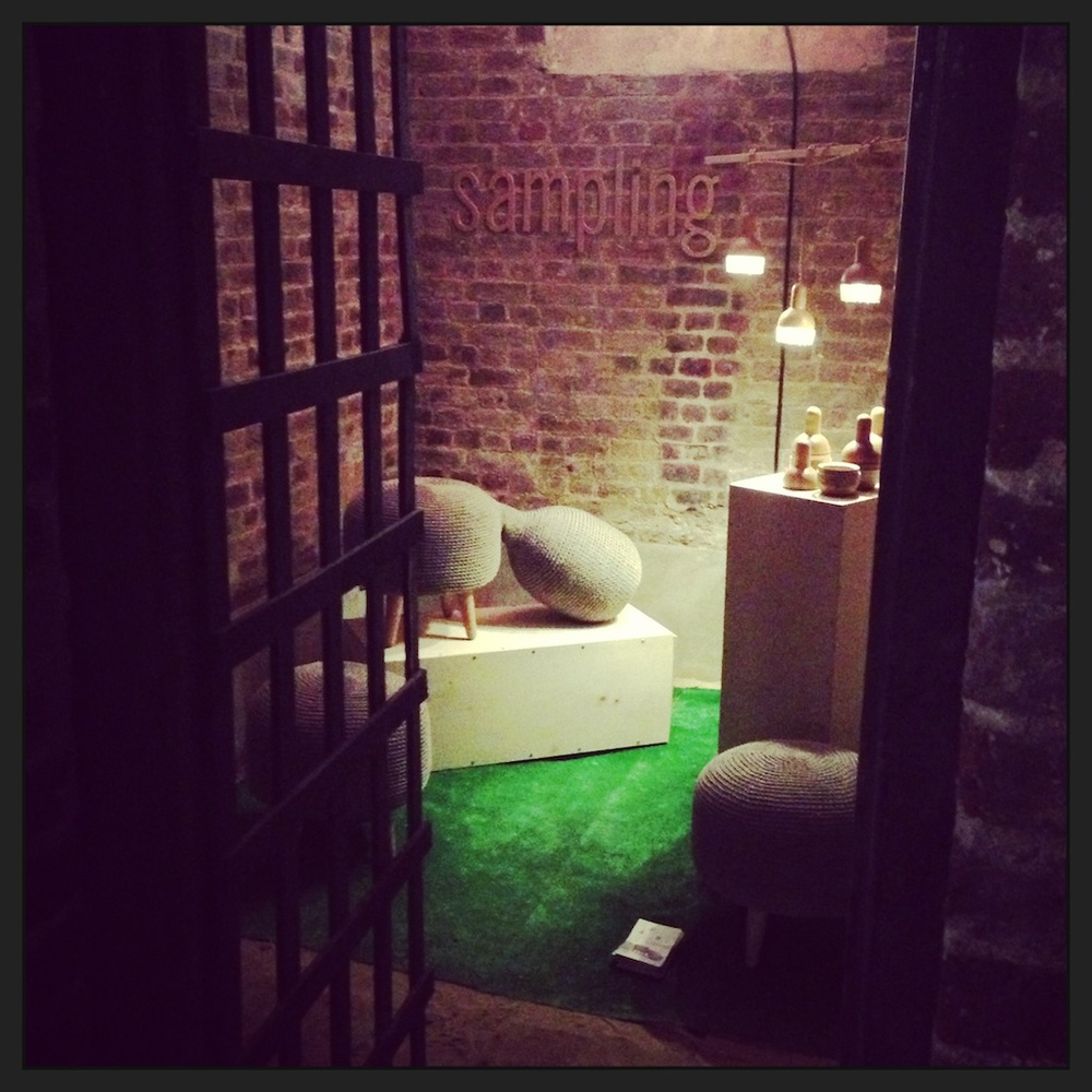 Emerging designers were located in the moody subterranean confines of the House of Detention which was once a Victorian prison. Behind the bars you can just make out pieces by Latvian company Sampling. There was a lot of buzz around Donna Bates's Parlour Lighting.