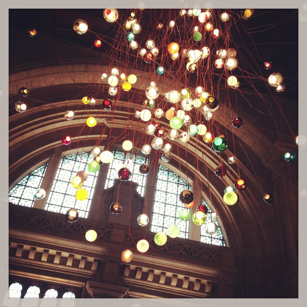You can't miss this in the Cromwell Road atrium of the V&A. It's an extraordinary chandelier by designer Omer Arbel for Canadian company  Bocci  called 28.280 [there are 280 of their '28 Series' handmade glass pendant lamps]. It's hung from the cupola, the highest point in the museum, and falls 30 metres. The copper cables all had to be unrolled and bent into shape meaning that it can never be exactly recreated again. It's absolutely beautiful and will be up for two months so there's time for you to see it.