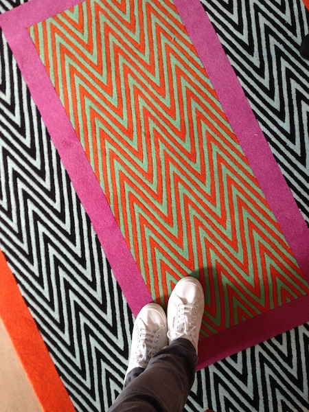 I'm always a sucker for a bold print so naturally I felt compelled to take a shoe selfie on one of fashion designer  Jonathan Saunders' new rugs for The Rug Company .