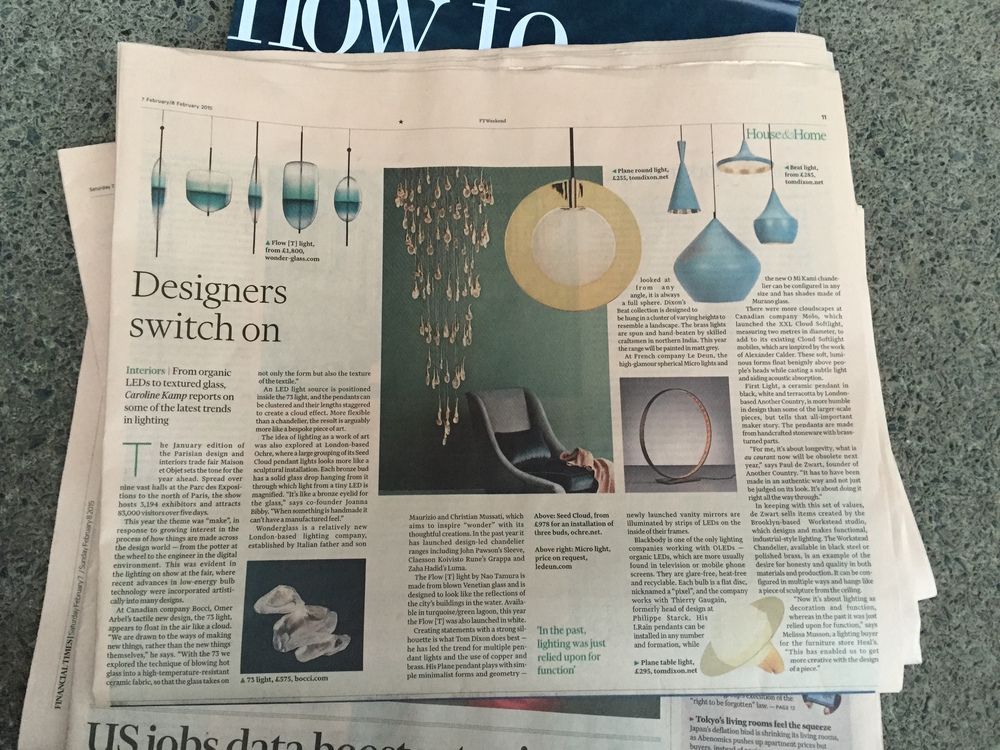 Here's the piece I was researching in Paris about lighting trends at Maison et Objet for the FT Weekend's House & Home, it was published last Saturday. The article is behind the paywall online (which means you can't read it unless you subscribe) but I'm delighted to be writing for them.