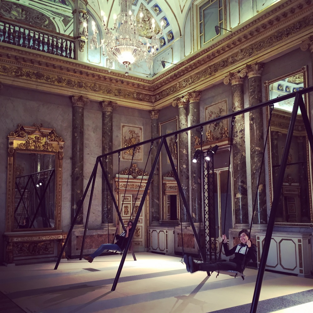 The exuberance and playfulness of putting swings inside a palazzo completely took me by surprise. What was it for? To promote quartz surfaces, just visible on the floor, from a company called Caesarstone. The installation was conceived by Patrick Malouin. If I had to choose only one image to sum up the week it would be this.
