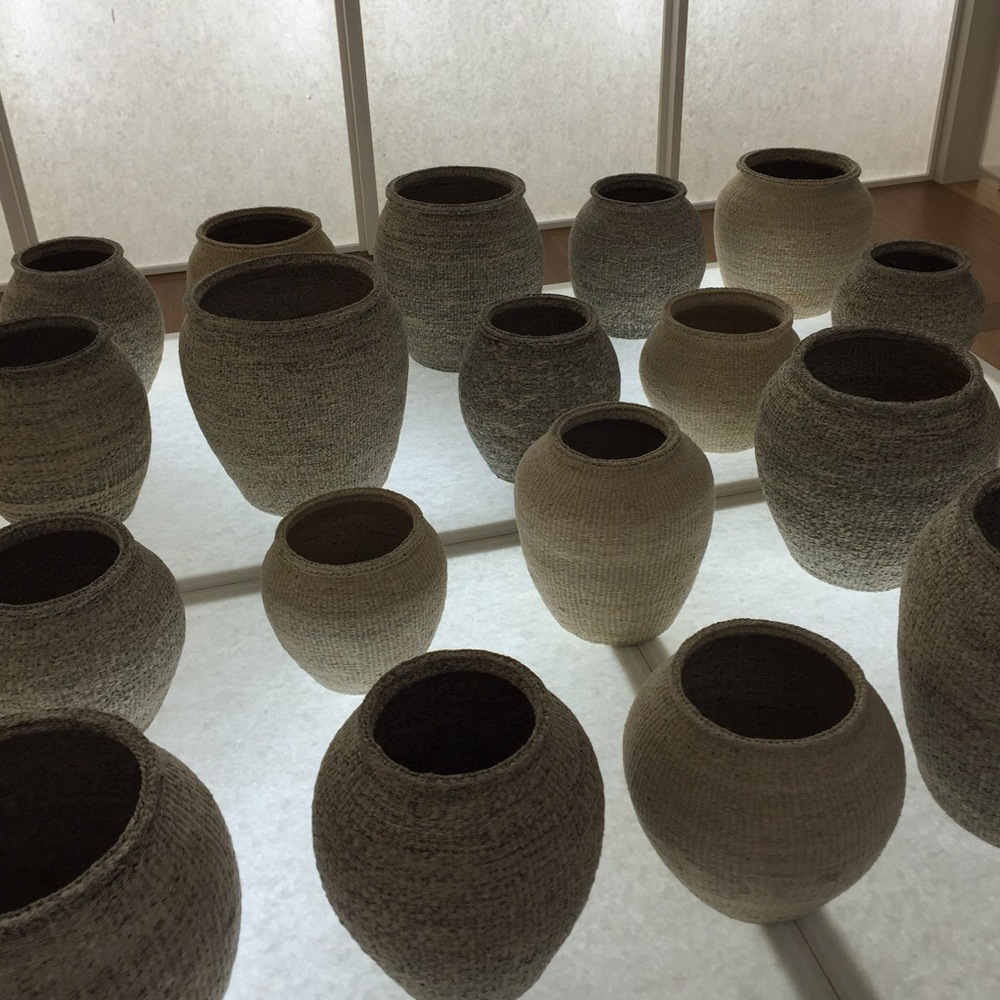Woven baskets on display at La Triennale as part of the  Constancy & Change in Korean Traditional Crafts  presentation. I loved their exhibition at the London Design Festival last year when they showed zen-like mediation bowl bells.