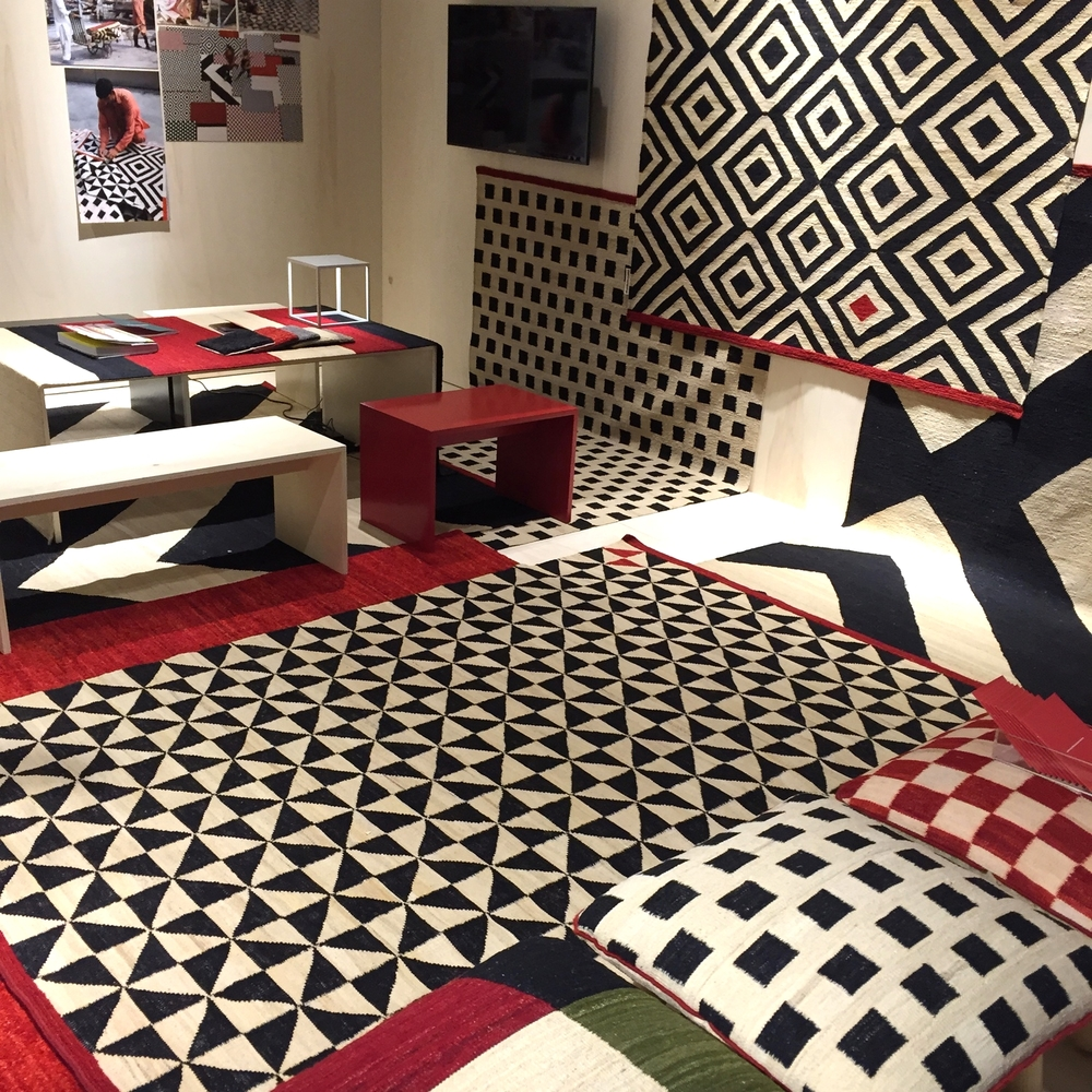Black, white and red Melange Rugs by Sybilla which are handcrafted in Pakistan stood out on the Nanimarquina stand.
