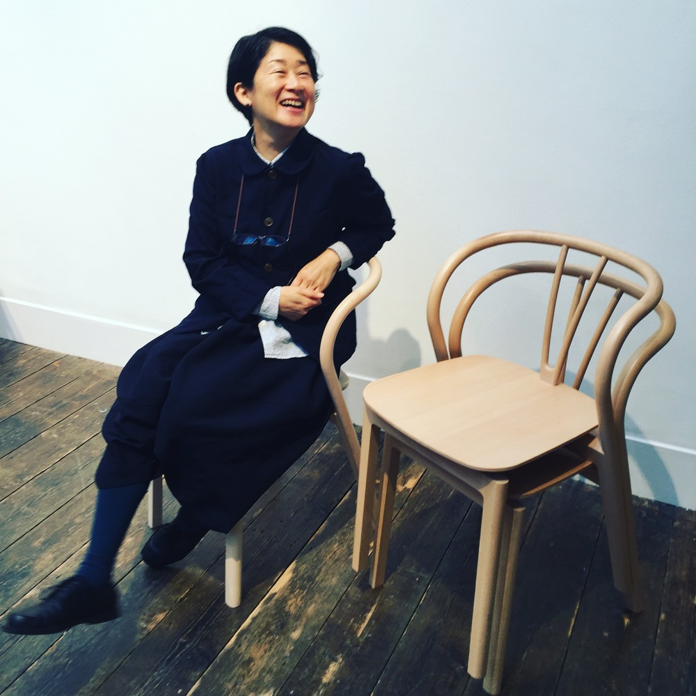 The delightful  Tomoko Azumi  at the Margaret Howell shop on Wigmore Street where she was launching her beautiful beech bentwood chair called  Flow .