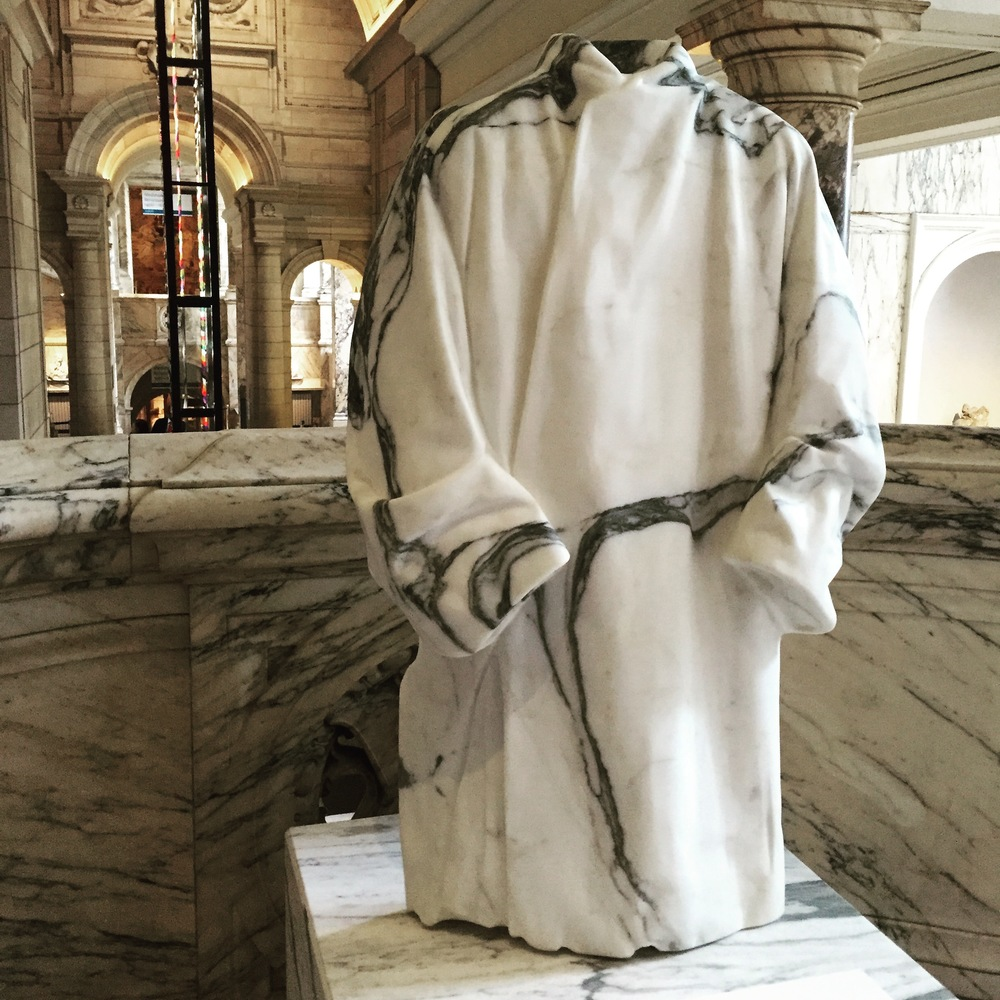 I loved this marble cloak, also at the V&A, which blends in with the marble staircase. It was part of an imaginative site-specific installation called  The Cloakroom by Faye Toogood  (and you can see the Zotem in the background).