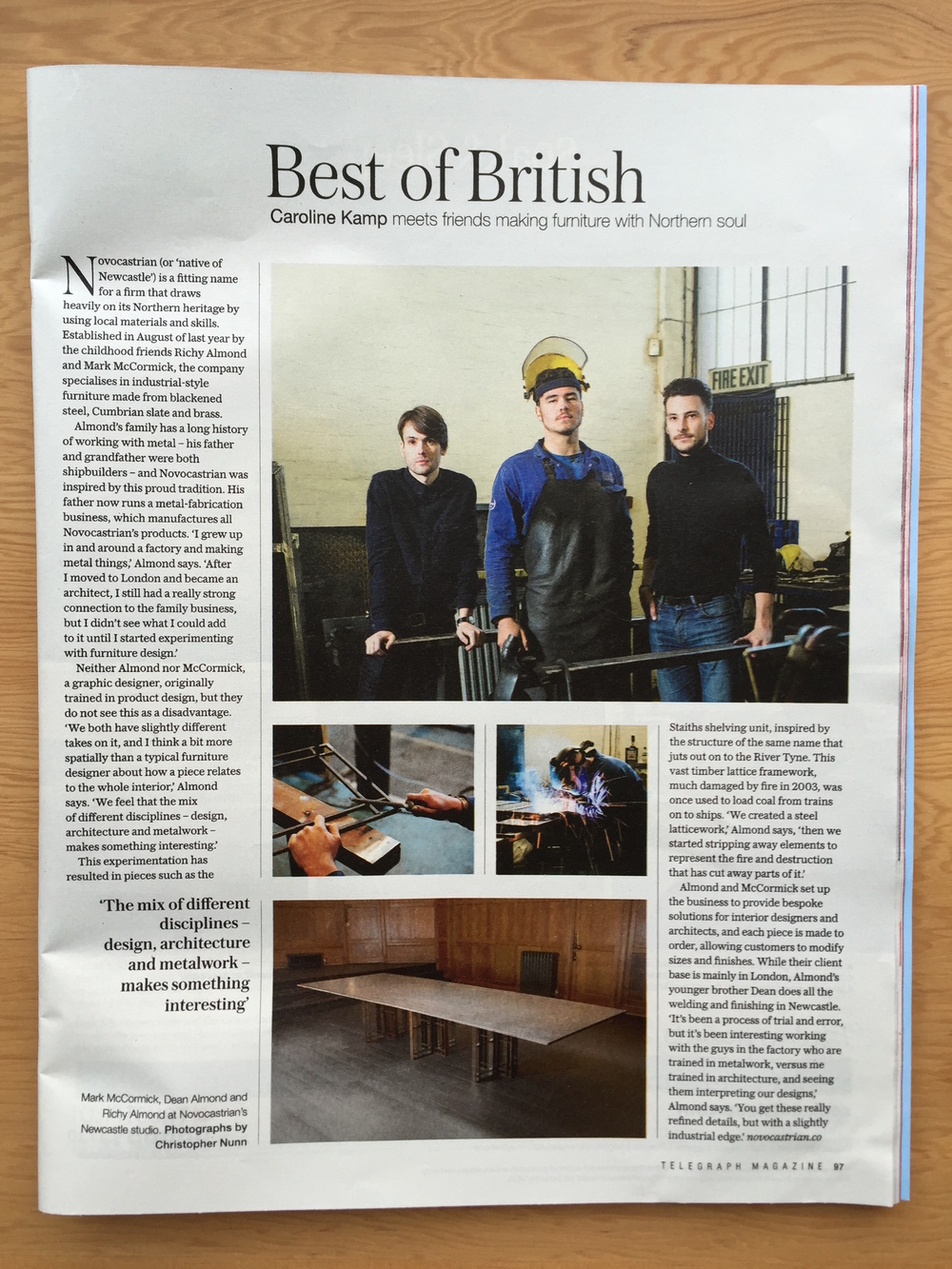 I interviewed Richy Almond of new British design company Novocastrian for The Telegraph Magazine (Saturday).