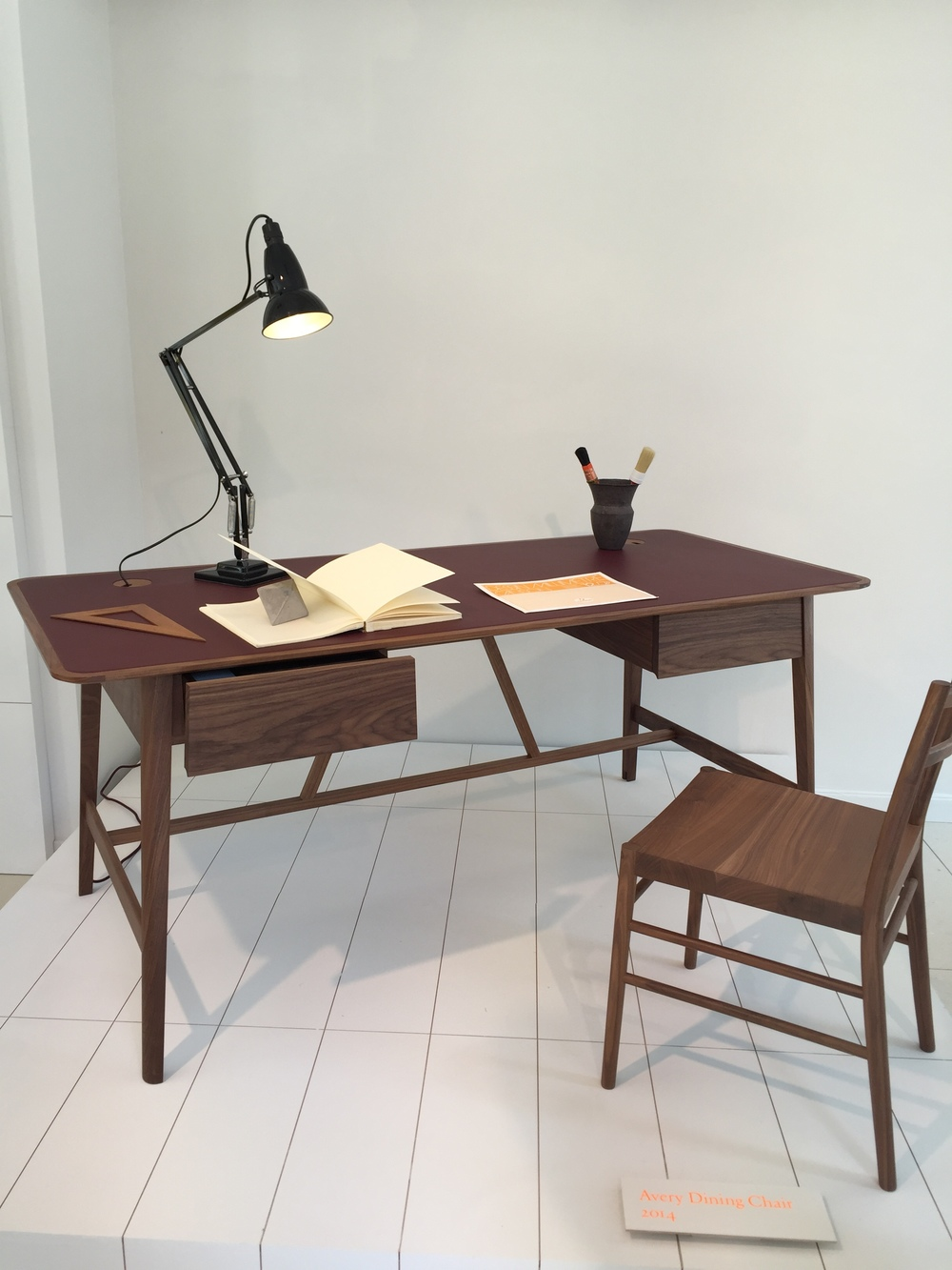 Beautiful desk by British designers  Pinch . Incidentally, also a husband and wife duo Russell Pinch and Oona Bannon.