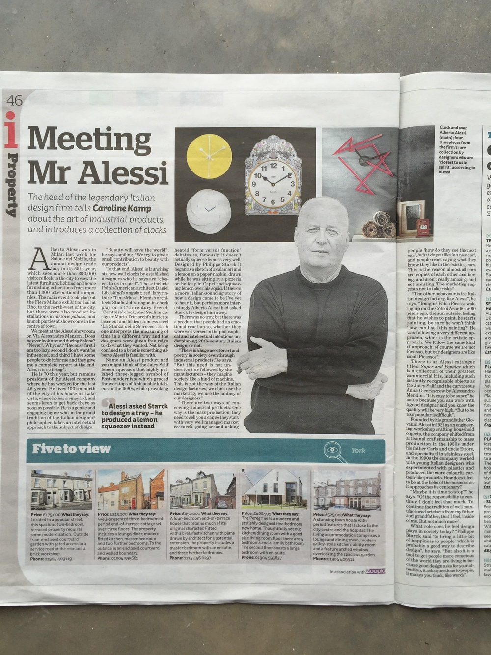 While in Milan last week I interviewed Alberto Alessi, president of the Alessi company and grandson of the founder, at their showroom on Via Alessandro Manzoni. He had some great things to say about industrial design and why he never looks around Salone del Mobile. It's published in today's i Paper.
