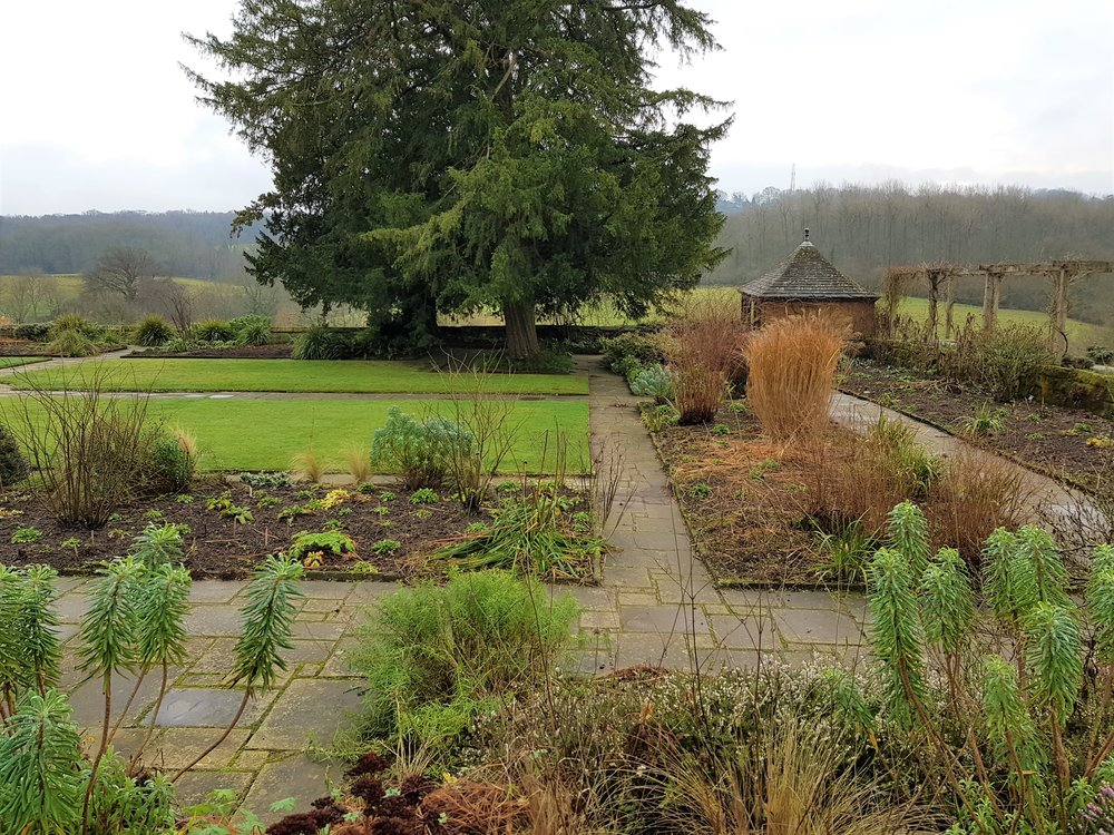 The garden at Gravetye Manor in January 2018