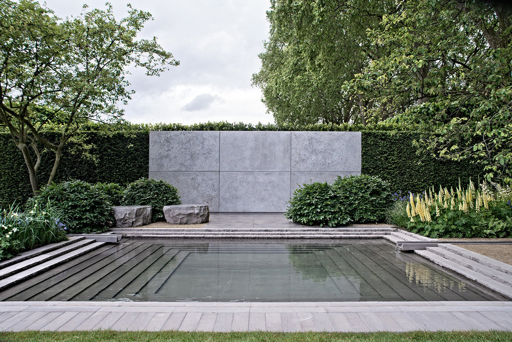 Another view of the 2014 Chelsea garden which uses form, texture and reflection to great effect.