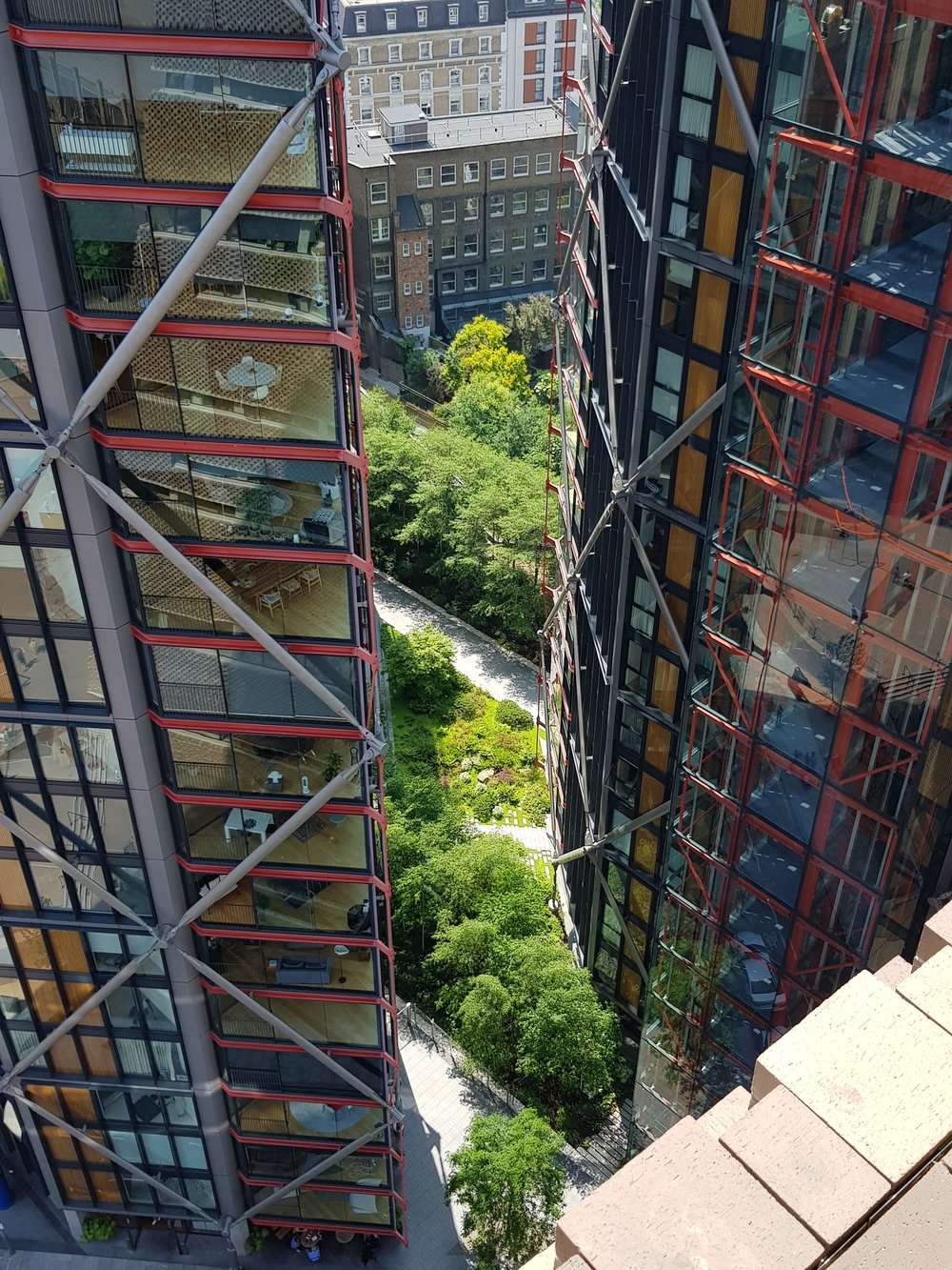 A sliver of lush green planting between high rise apartments