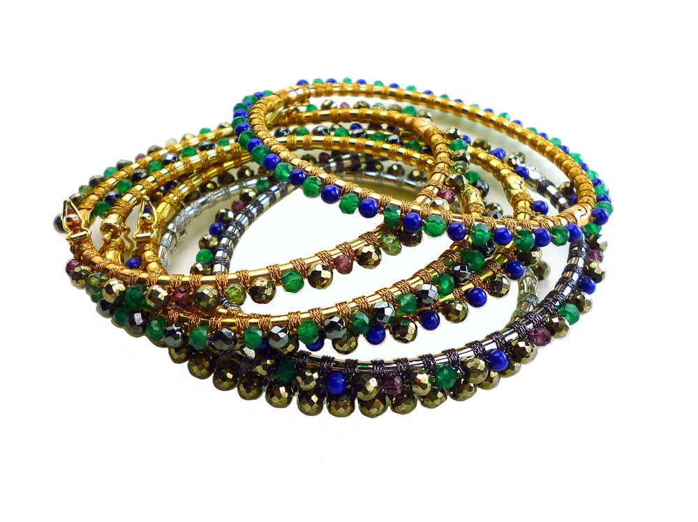 rose, yellow and white gold and multistone handwoven bangles .jpg