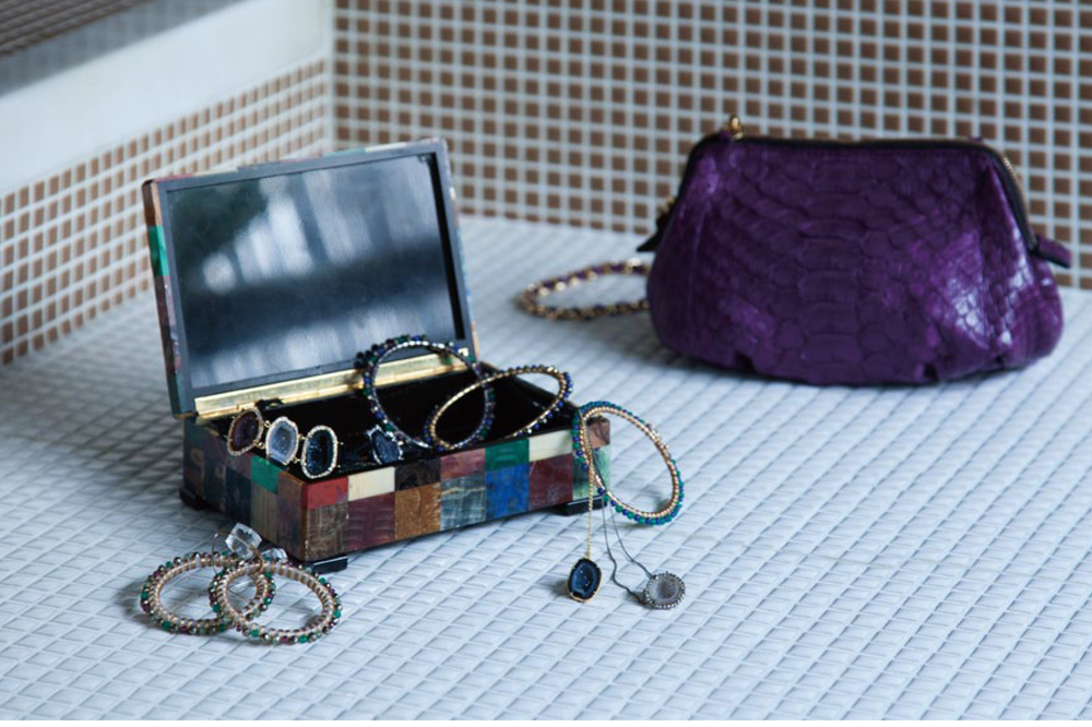 Strasburgo Magazine Japan, white, yellow and rose gold bangles hand woven with assorted stones