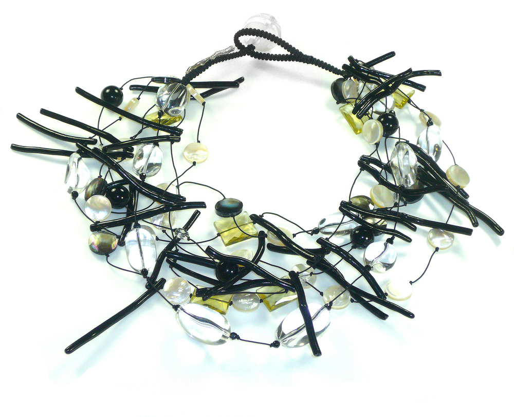 $2060.00 NCS110 BLACK CORAL, LEMON CITRINE, SOUTH SEA MOTHER OF PEARL, QUARTZ AND STERLING SILVER