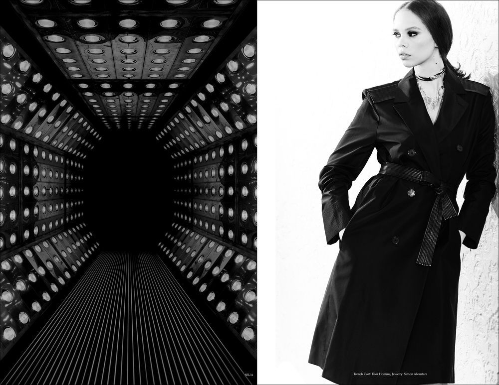 MODEL: CARLA PRIETO, PHOTOGRAPHER: HENRY LOPEZ,  CINEMATOGRAPHER; ANNA LEE CAMPBELL, STYLIST: MENGLY HERNANDEZ, MAKEUP AND HAIR: GRISELLE ROSARIO. ART DIRECTION, DESIGN DIRECTION AND JEWELRY SIMON ALCANTARA. POST PRODUCTION: MAXMILLION ROSARIO PRODUCED BY CREATIVE COLLECTIVE COL-LAB. CASTING: OSCAR MONTES DE OCA.   TRENCH COAT: DIOR HOMME