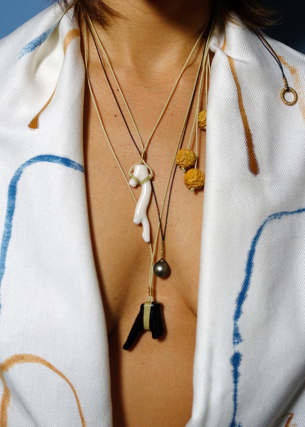 Simon Alcantara coral and South Sea pearl pendants