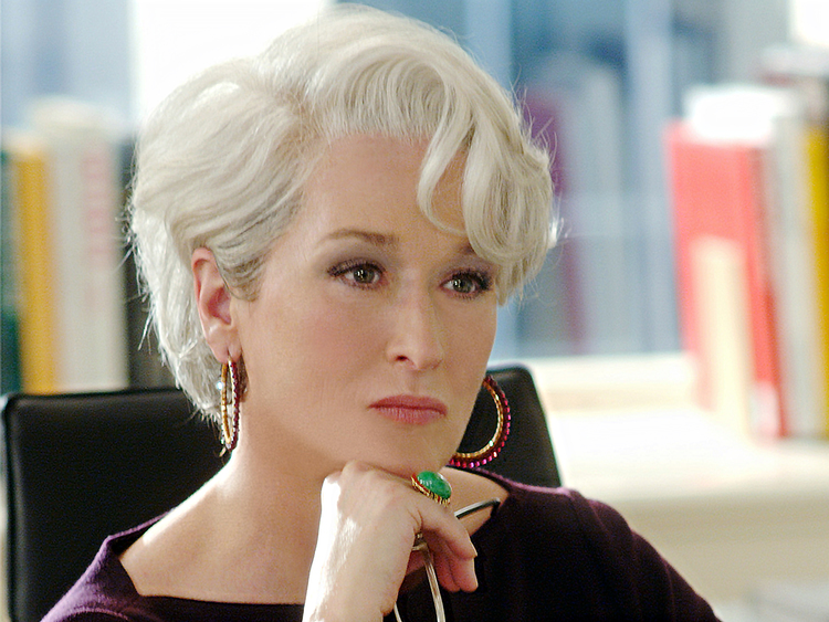 fd59f43f8 Celebrating the 10th anniversary of The Devil Wears Prada, Meryl Streep  wearing Simon Alcantara's hand woven gold and facted garnet hoops.
