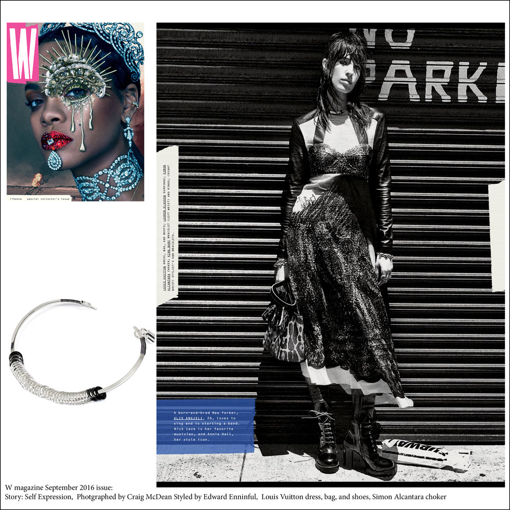 WMAGAZINE SEPTEMBER 2016 ISSUE. SIMON ACANTARA STERLING SILVER HAND WOVEN CHOKER