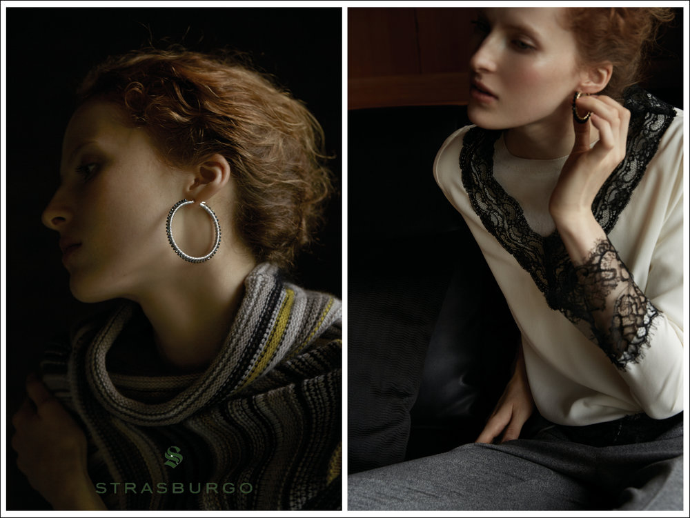 STRASBURGO JAPAN FALL 2016.  SIMON ALCANTARA 45MM 14KT WHITE GOLD AND MYSTIC GREEN SPINEL HOOPS (IMAGE ON LEFT SIDE) AND 35MM 14KT YELLOW GOLD AND ONYX (IMAGE ON RIGHT SIDE). STRASBURGO.CO.JP
