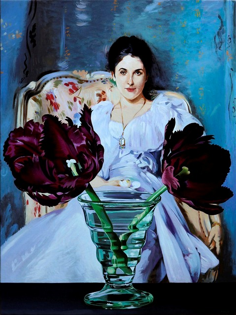 purple tulips with lady of lochnaw 2012 oil on canvas 24 x 18 inches