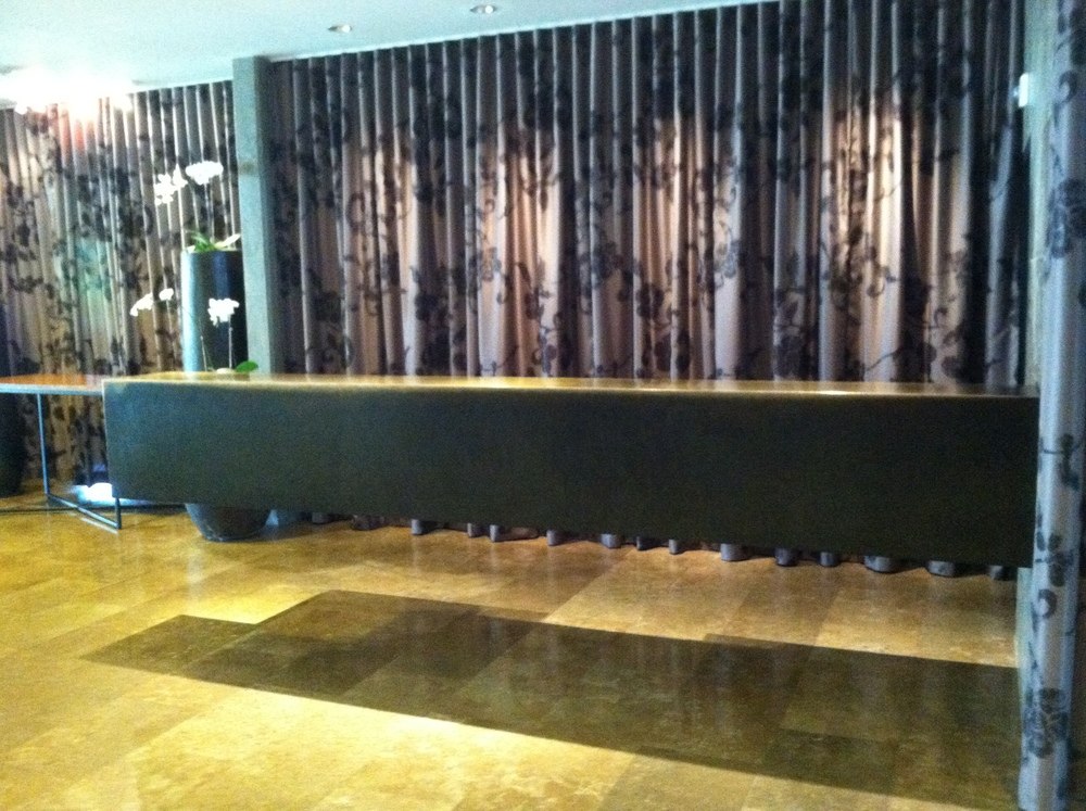 floating front desk in lobby