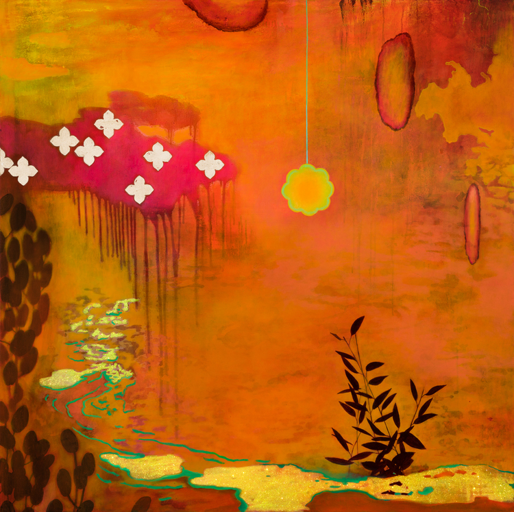 divine rain 2012    oil, metal leaf, metal & metal flake   54 x 54 inches