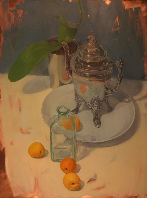 pitcher & orchids with apricots    oil on copper   24 x 18 inches