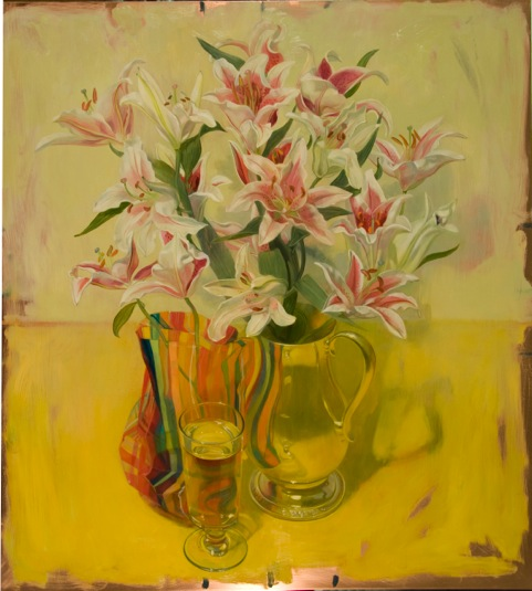 lilies on yellow with pitcher    oil on copper    24 x 22 inches