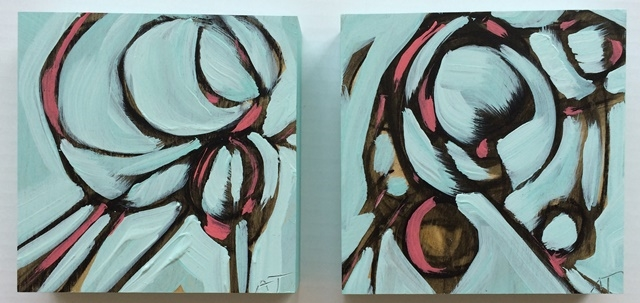 turq & pink i & ii mixed media on panel 6 x 6 inches each