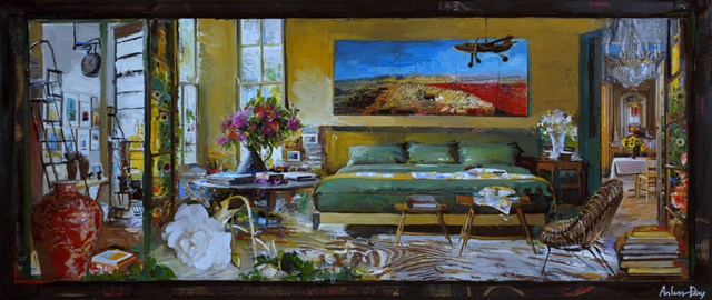 the botanist bedroom 2015 - collage & gouache on board - 13 9/16 x 32 inches