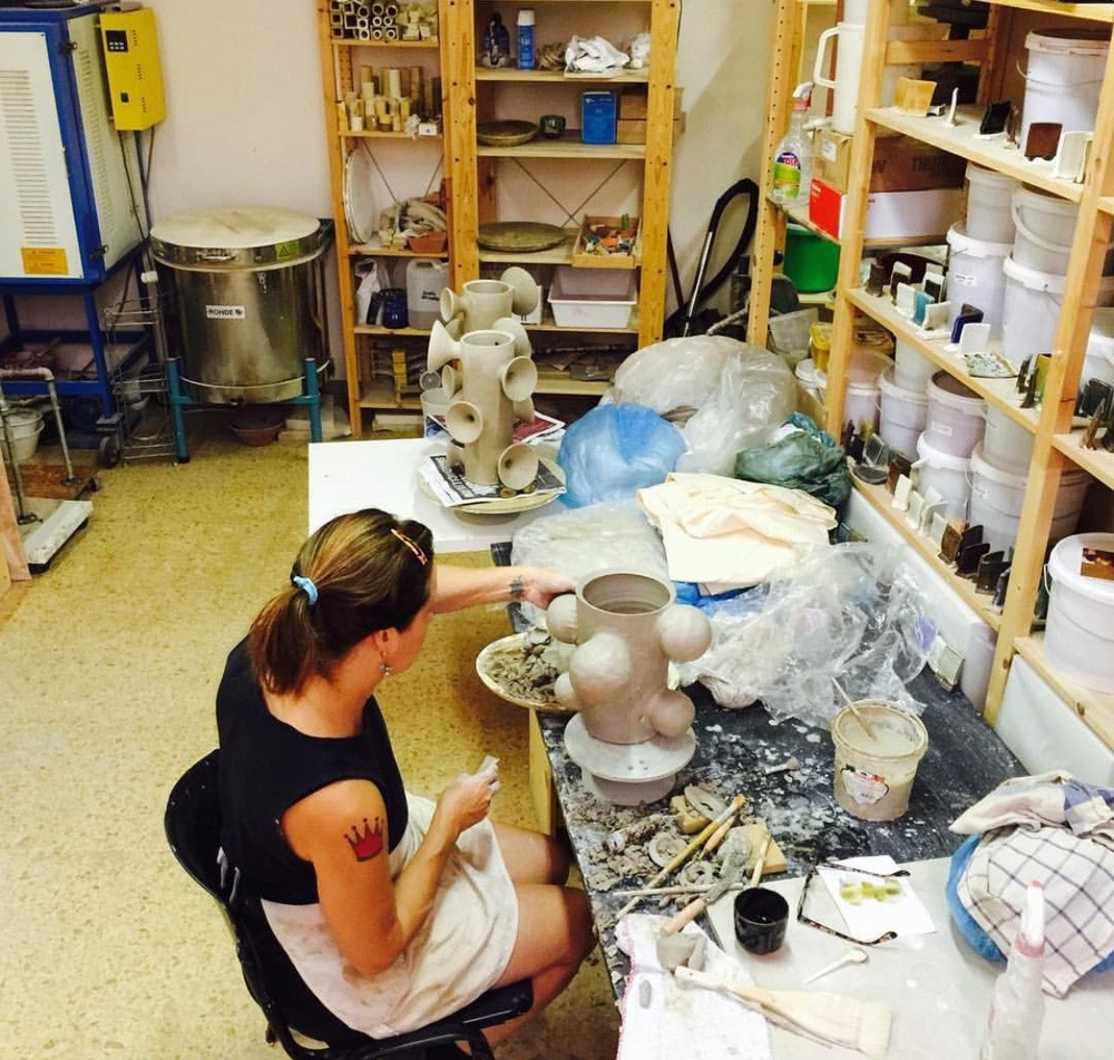virginia scotchie in her artist in residence studio in italy