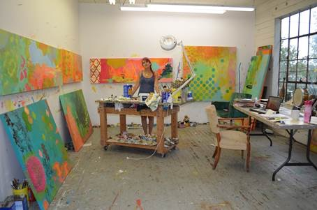 ruth in her studio late last summer before show went to the turchin center