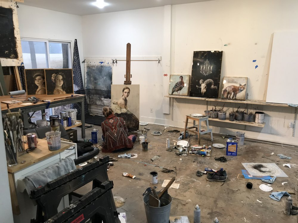 sarah helser working in her studio in charlotte