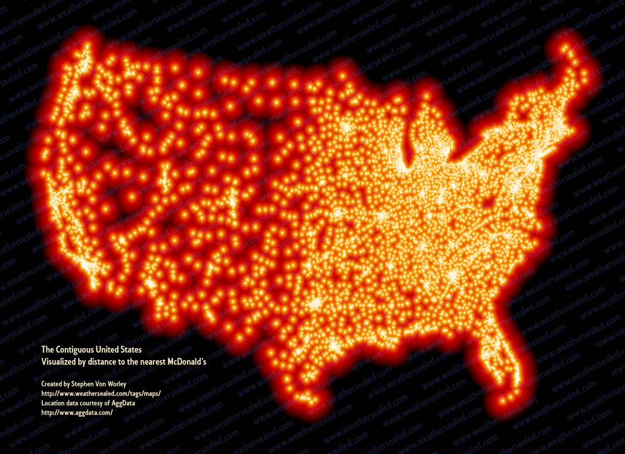 shapeandcolour :     where the mcdonald's are. which is to say… everywhere.   an info-visualization by  www.weathersealed.com