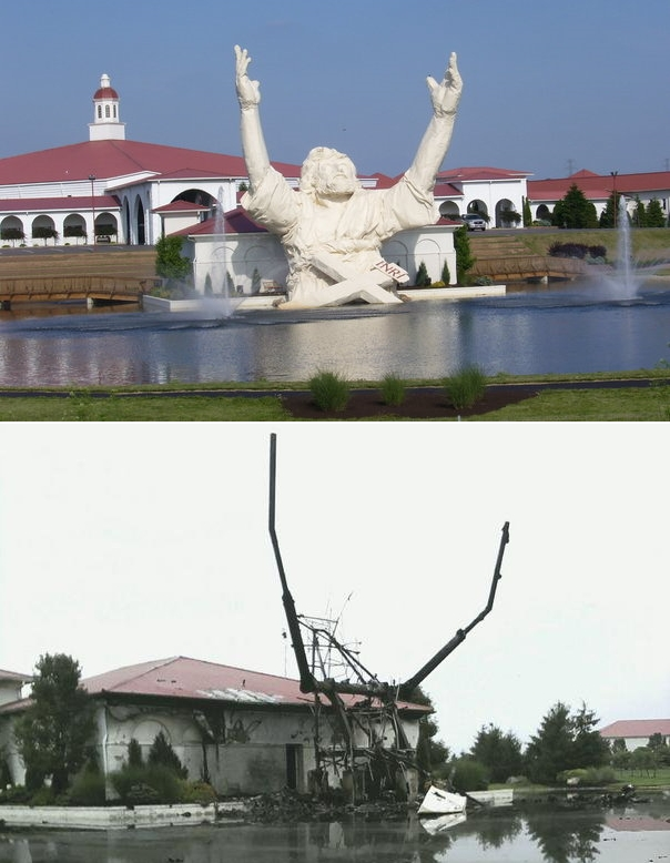 "flackadelic :      thedailywhat :      Act Of God of the Day:  Solid Rock Church's landmark 62-foot ""Touchdown Jesus"" statue (officially known as "" King of Kings "") was struck by lightning around 11PM last night and promptly burned to the ground.   Discuss.   [ cincinnati .]"