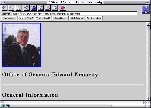 seanmcdonald :   My favourite tribute to Ted Kennedy so far. Reminding people he had the first website by a member of Congress (1994). FTW!! (via  urlesque ).