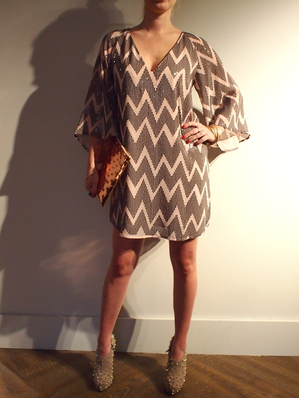 Corey Lynn - Christine V-Neck Kimono Dress: $335