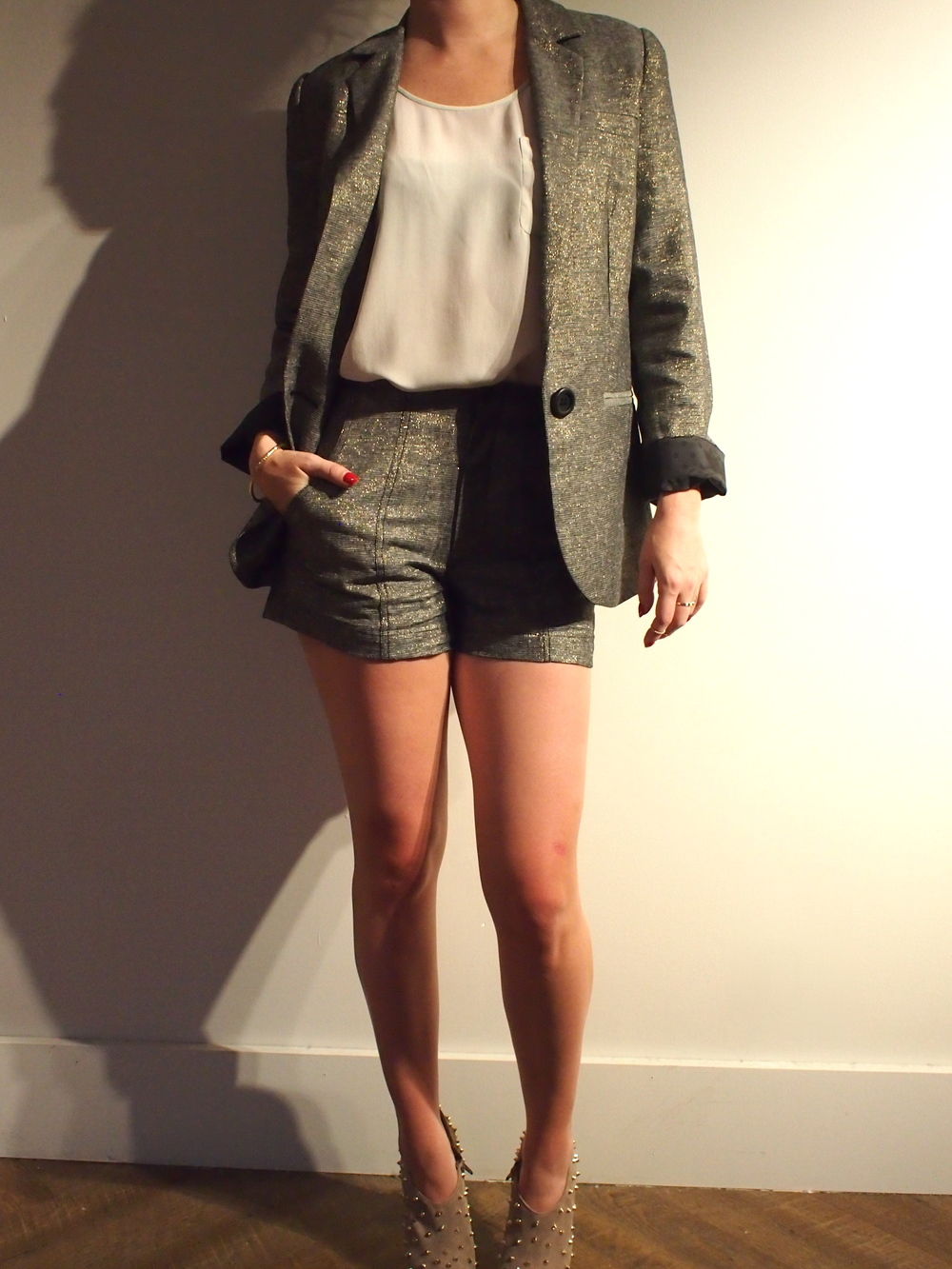 Corey Lynn - Lou Relaxed Blazer: $245  Corey Lynn - Kasey Seamed Shorts: $170  Tiger Of Sweden - Foster Tank Top: $149