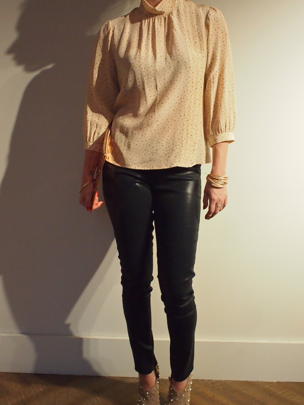 Corey Lynn - Brie Side Pleated Blouse: $218  J Brand - Low Rise Legging: $245