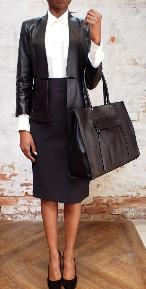 Malene Birger Juliesse leather jacket $825, Rebecca Minkoff MAB tote $398.