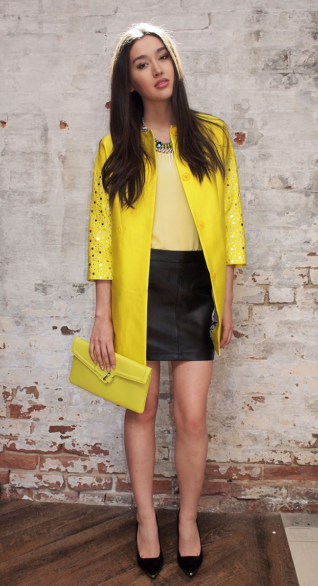Malene Birger jacket $795, Ganni leather skirt $299, Ela MILCK clutch $285