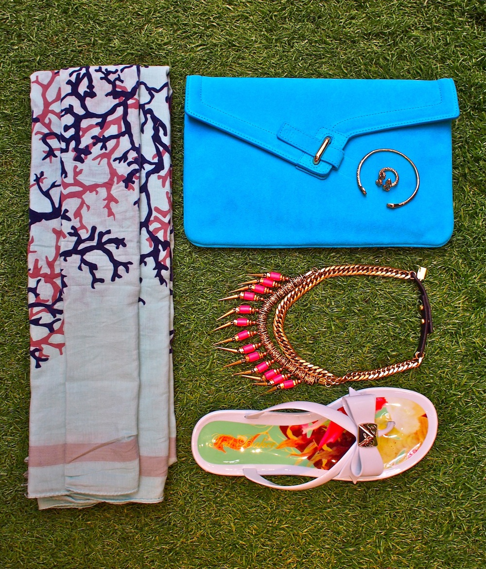 Ted Baker Polee flip flop with bow detail $89, Leigh & Luca coral fringed scarf $239, Ela MILCK Suede Clutch $285, Jenny Bird Kuta Collar $215, Jenny Bird Kundali Queen Serpent Bangle $65, Jenny Bird Shakti Serpent Open Ring $60.