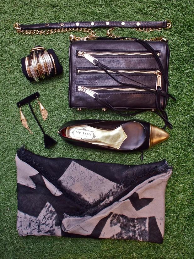 Designers Remix Josie scarf $158,Rebecca Minkoff clutch $225,Ted Baker Seliq flat $198,AanN earrings $69,Gillian Julius bracelet $300.