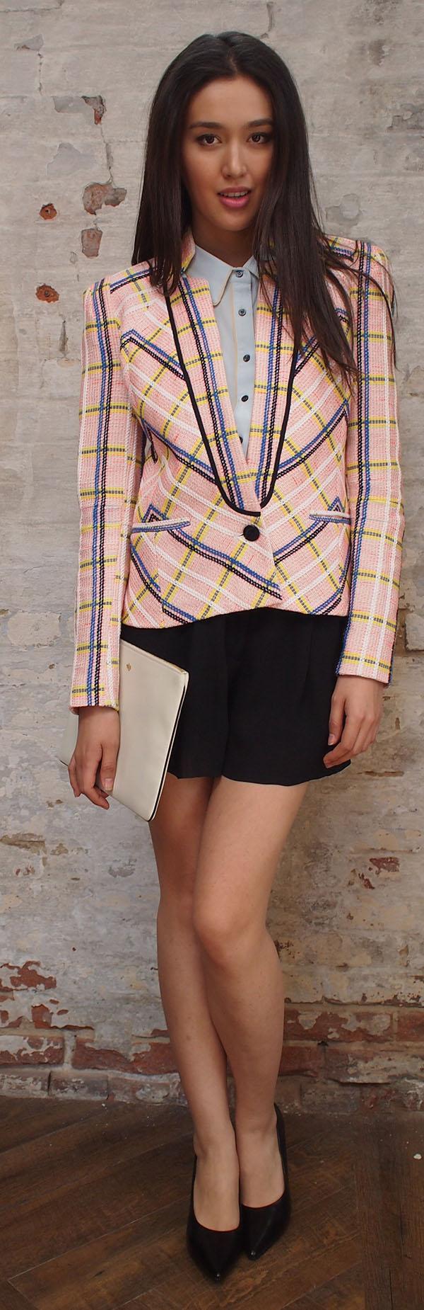 Rebecca Minkoff jacket $598,Ganni shirt $250,Tiger of Sweden shoe $229,Tiger of Sweden shorts $149.