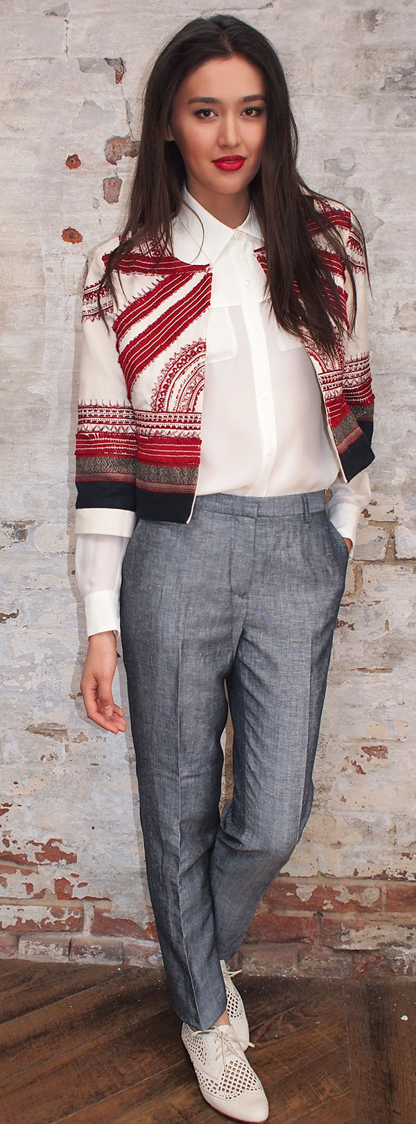 Sachin and Babi jacket $938,Designers Remix pant $208,Parker blouse $245,Dolce Vita shoe $209