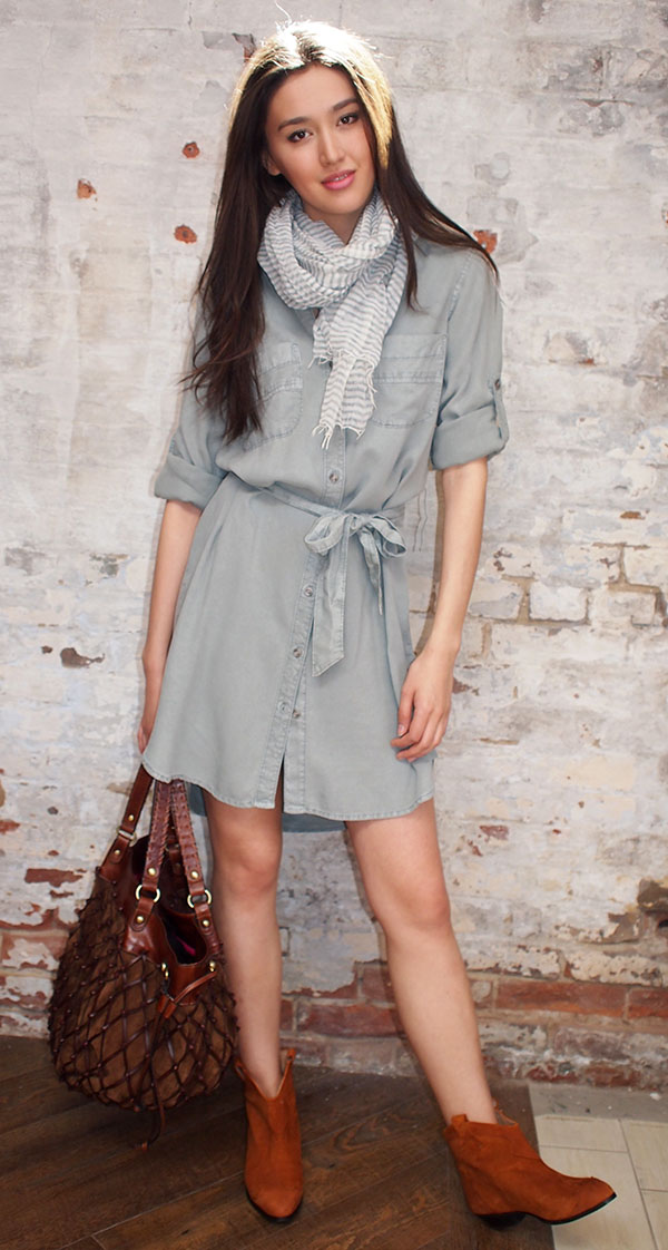 Bella Dahl shirt dress $209, Sammi scarf $110, Ganni boots $324, Jenny Bird bag $395