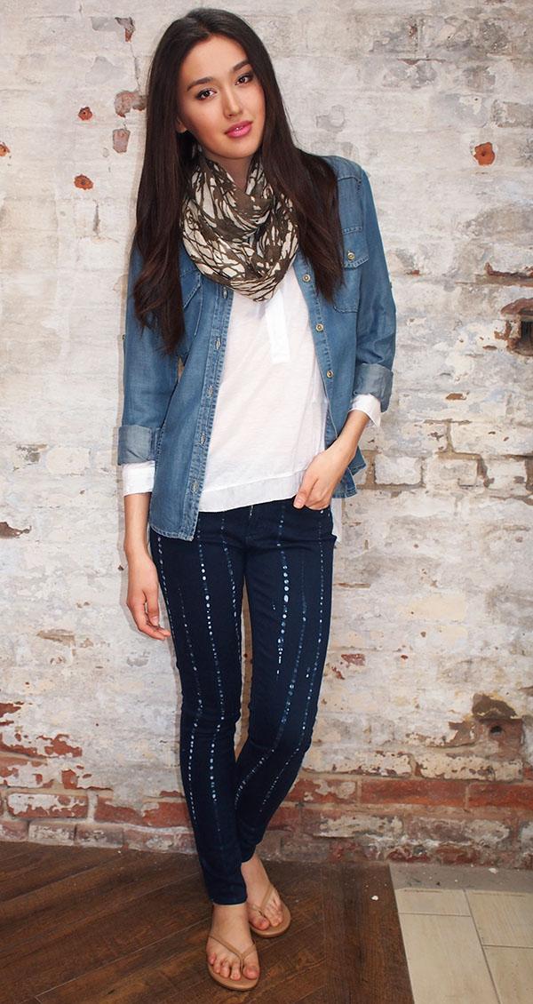 Bella Dahl shirt $165,Paige jeans $258,Malene Birger top $250,Tilo scarf $138,Tkees $58