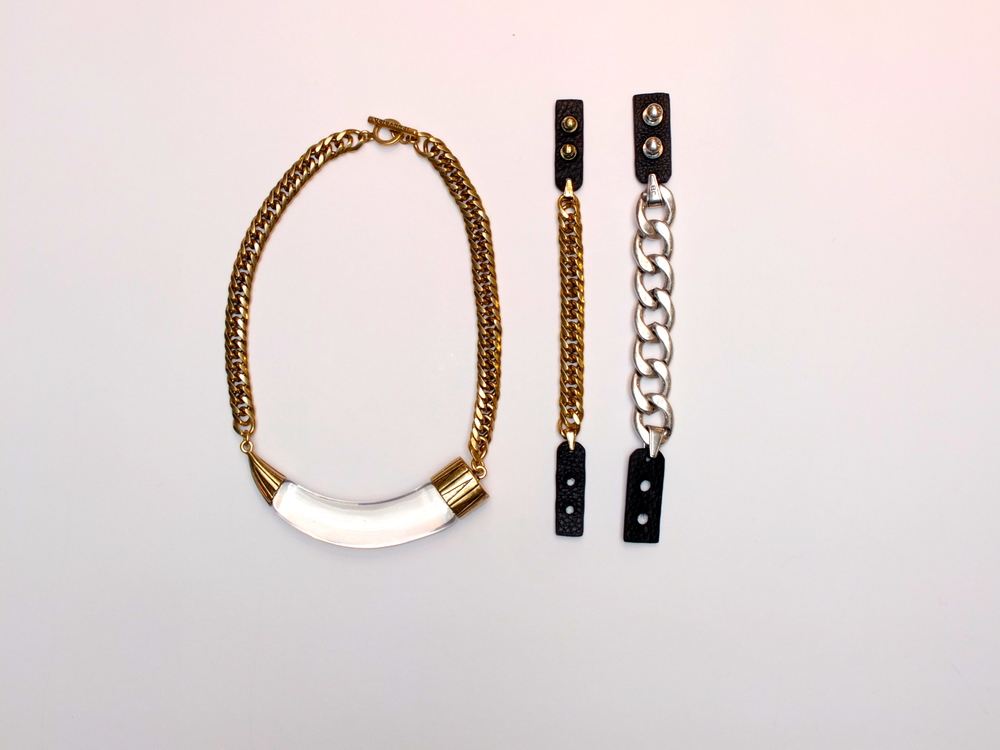 HARK! Horn Collar Necklace $225, Hustle and Flow Bracelet $65, Riri Bracelet $65
